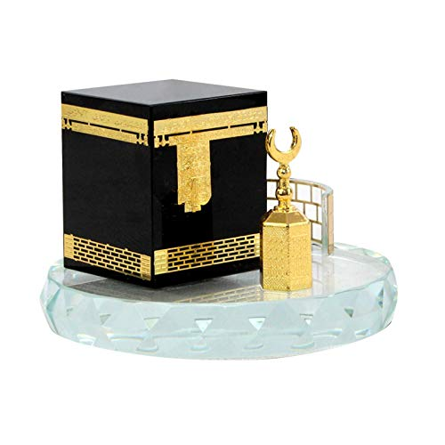 NINEFOX Architecture Model Kit Three Piece Crystal Gilded Kaaba Muslim Bedroom Engraving Gift Office Car Interior Living om Elegant Craft 3D Mosque Home Decor Desktop