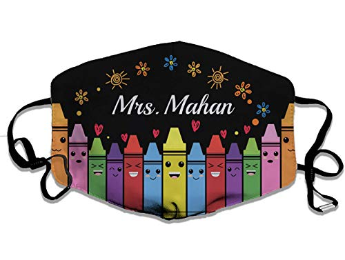 Personalized Custom Name Get Your Crayon Face Mask, Gift For Teacher, Washable Anti Droplet Cotton 3D Face Mask