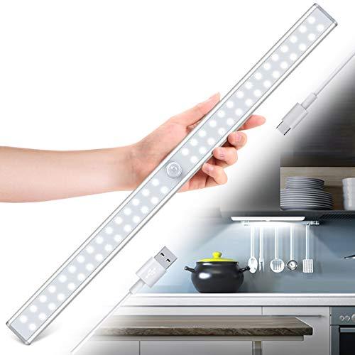 Luz Armario, Tanbaby USB Recargable 60 LED Luz Armario, Luz LED con tira adhesiva magnética, Para Armario, Escaleras, Pasillos, Cocina, Garaje (Blanco)