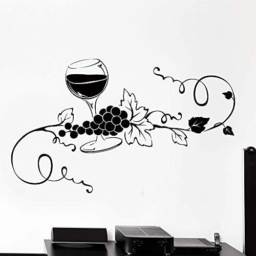 Bicchiere di vino Vite Uva Decalcomania da parete in vinile Cucina Bar Arte murale Modello da parete rimovibile Adesivo murale Murale A4 57x95 cm