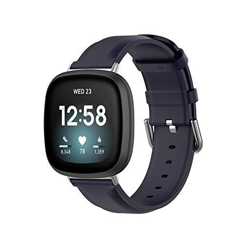 MAKACTUA Rem kompatibel med Fitbit Sense rem/Fitbit Versa 3 rem män kvinnor, läder justera sport fitness armband för Fitbit Versa 3/Sense