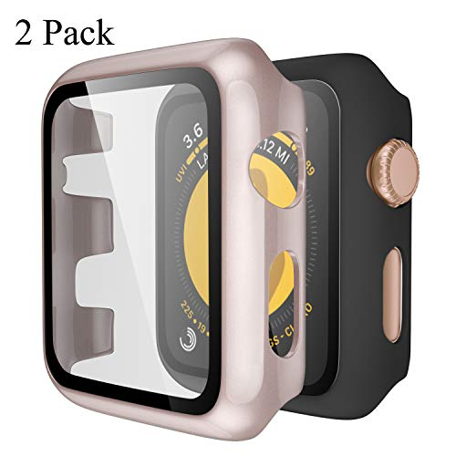 Upeak Kompatibel mit Apple Watch Series 3/2/1 Hülle mit Panzerglas 38mm, 2 Stücke Hart PC Schutzhülle Case Compatible with iWatch 1 2 3, Matt Schwarz/Glänzend Roségold