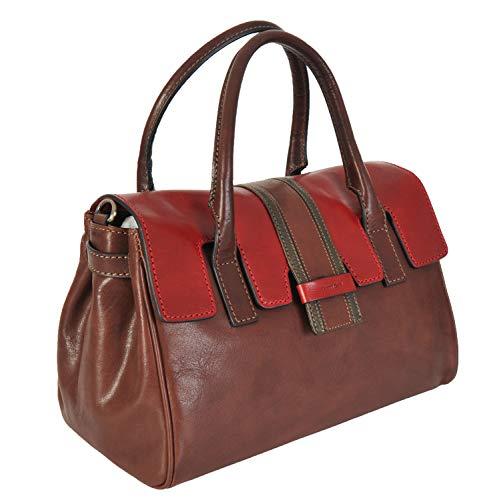 Gianni Conti 973870 Handtasche, italienisches Leder, mittelgroß, Braun - Braun / mehrfarbig - Größe: Medium
