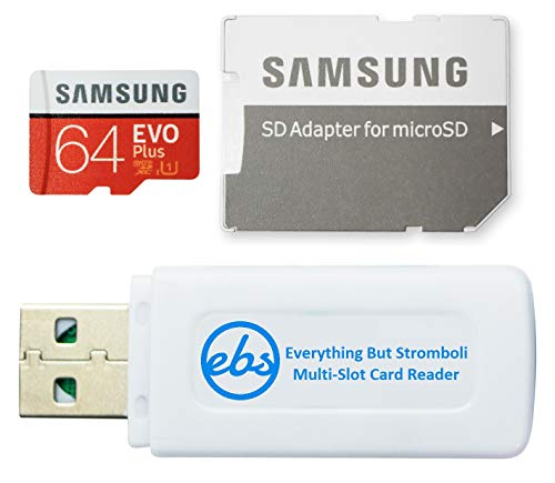 Samsung 64GB MicroSDXC EVO Plus Memory Card Works with Samsung Phones A02s, A02, A32, A12 Galaxy Series Class 10 (MB-MC64) Bundle with (1) Everything But Stromboli MicroSD & SD Memory Card Reader