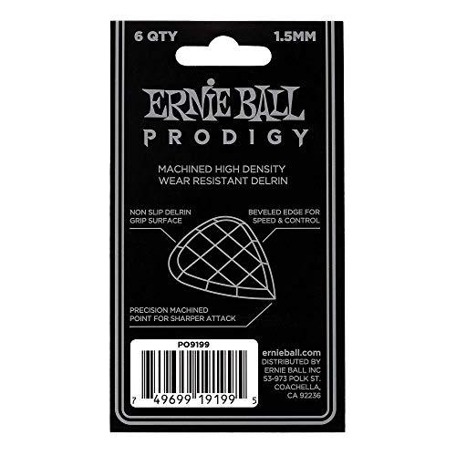 Ernie Ball Prodigy Guitar Picks, Black, 1.5 mm