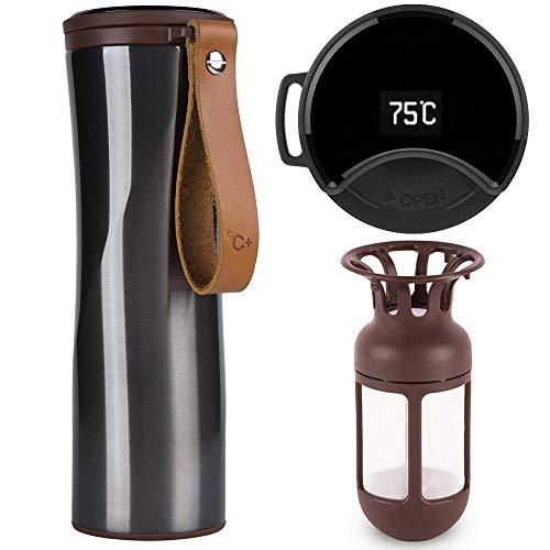 ZZCCYY Thermobecher, Kaffeebecher to go, Intelligente Thermosflasche, 430ml Touch Interaktive Edelstahl Trinkflasche mit OLED Temperaturanzeige einschließlich Kaffeefilter (Grau)