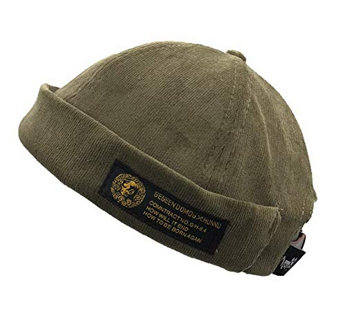 Unisex Docker Skull Cap Sailor Cap Brimless Beanie Hat Green
