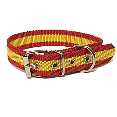 Global Collar de Perro Bandera de España | Collar de Perro de Nailon con Refuerzo en Piel | Collar 45 cms