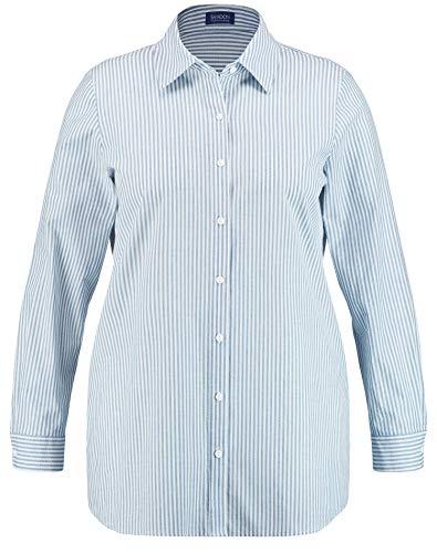 Samoon Damen 360003-21327 Bluse, Mehrfarbig (Lagoon Gemustert 8052), (Herstellergröße: 46)