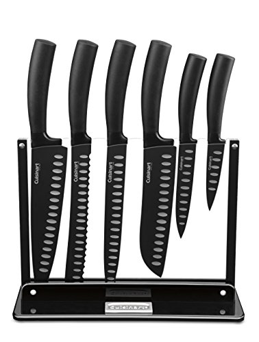 Cuisinart C77NS-7P Classic Nonstick Edge Collection 7-Piece Cutlery Knife Set with Acrylic Stand, Black