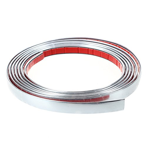 SODIAL (R)BANDE ADHESIVE CHROMEE COULEUR ARGENT 12MM 3 METRES AUTO