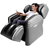 Sinoluck Zero Gravity Full Body Massage Chair with Lower-Back Heating, Bluetooth Speaker and Foot Roller (Gray)