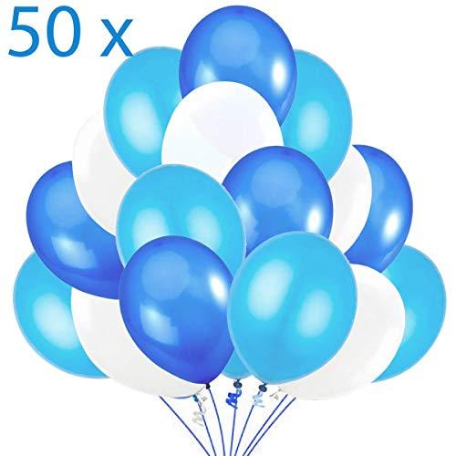Jonami 50 Luftballons Blau Weiß Hellblau Ballon Premiumqualität 36 cm Partyballon Deko Babyblau Himmelblau Dunkelblau 3,2g. Dekoration fur Geburtstags, Baby Shower, Baby Dusche Party