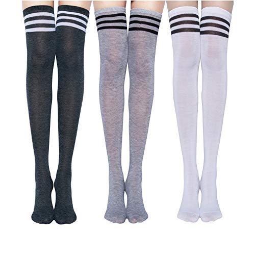 Chalier 3 Paar Kniestrümpfe Overknee Strümpfe Damen Lange Gestreifte Socken Thigh High Socks MEHRWEG