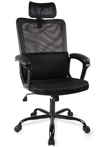 Smugdesk Ergonomic Office Chair Adjustable Headrest Mesh Office Chair Office Desk Chair Computer Task Chair (Black) - 2579