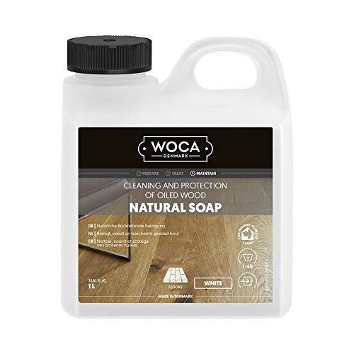 Woca zeep voor houten vloeren, naturel of wit, met Trevendo microvezeldoek 1 Liter wit
