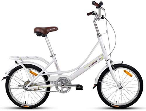 GJZM Mountainbikes Erwachsene 20 Falträder Leichtes Faltrad mit Gepäckträger Single SpeedFaltbares Kompaktfahrrad Aluminiumlegierungsrahmen Hellgrün-Weiß