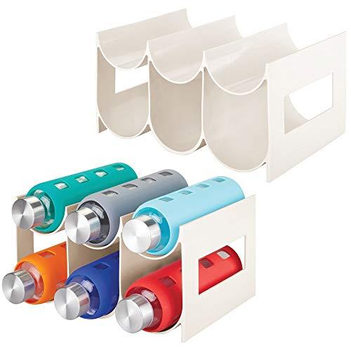 mDesign Freistehendes Wasserflaschen- und Weinregal aus Kunststoff für Küche, Speisekammer, Kühlschrank – 2 Stück, für je 6 Flaschen – Creme/Beige