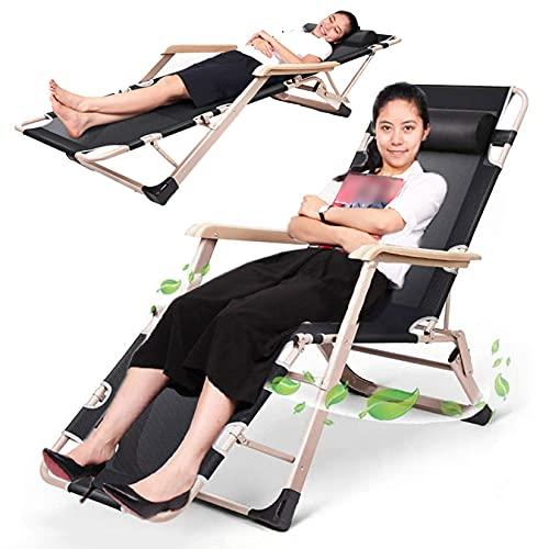 FXBFAG Sillas de patio reclinadas plegables - reclinadores de oficina Silla de césped de la silla de césped de la silla de la playa de la silla de la playa con la almohada del cuello, para el balcón d