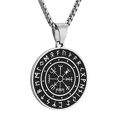 Brfash Colgante de Collar Vikingo Amuletos Brújula con Runas Vegvisir Céltico Joyería