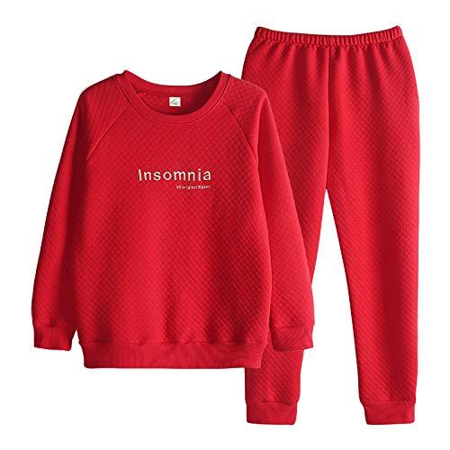 DFDLNL Conjuntos de Pijamas Acolchados Gruesos y cálidos de Invierno para Parejas, Ropa de Dormir de algodón de Aire de Manga Larga, Ropa de Dormir, Ropa de casa XL LX-91012