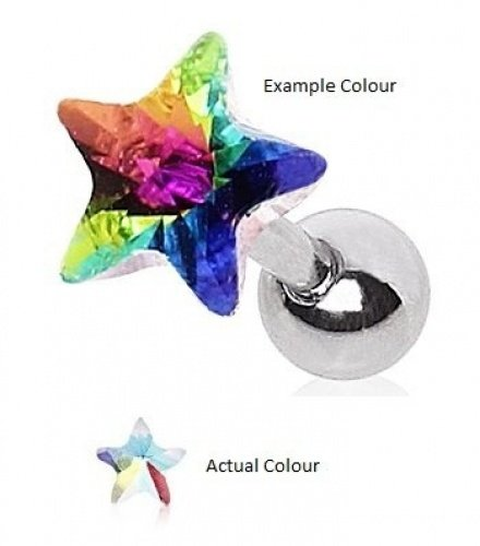 Piercing Boutique Chirurgisch Staal Gem Star/Prism Tragus/Helix/Cartilage/Labret 1,2 mm Dikte (16 gauge) x 6 mm Bar Lengte - Lichte Regenboog