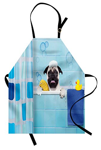 Lunarable Pug Apron, Dog in a Bathtub Funny Expression Yellow Duck and Towel Domestic Pet Wash Time, Unisex Kitchen Bib with Adjustable Neck for Cooking Gardening, Adult Size, Blue