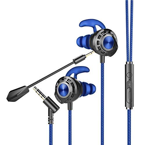 Bengoo G01 - Auriculares de juego in-ear, con doble micrófono desmontable, micrófono ajustable y control de volumen, con conector jack de 3,5 mm, para móviles, Nintendo Switch, PC, PS4, Xbox One