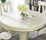 SWD TWTH Protector de mesa transparente, para mesa redonda, lavable, mantel de PVC transparente, 120/140 cm, impermeable, almohadillas de escritorio para comedor o casa (mate, 70 cm)