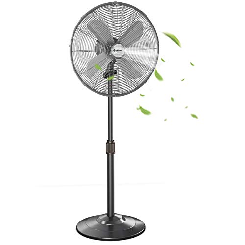 COSTWAY Metal Pedestal Fan, 16-Inch Quiet Oscillating Standing Fan with Height Adjustable, 3 Wind Speed, 4 Blades, Widespread Stand Floor Fan for Home, Office, Shop (Black bronze)