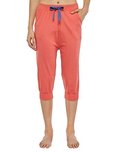 Uncover by Schiesser Damen joggpants 3/4 Schlafanzughose, Rot (Koralle 517), 38 (Herstellergröße: M)