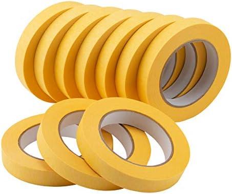 Lichamp 10 Pack Automotive Refinish Masking Tape Yellow 18mm x 55m Cars Vehicles Auto Body Paint product image