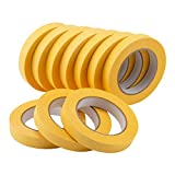 Lichamp 10-Pack Automotive Refinish Masking Tape Yellow 18mm x 55m, Cars Vehicles Auto Body Paint Tape, Automotive Painters Tape Bulk Set 0.7-inch x 60 Yards x 10 Rolls