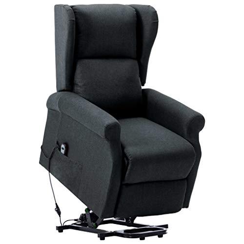 vidaXL Aufstehsessel Elektrisch Sessel mit Aufstehhilfe Liegesessel Fernsehsessel Relaxsessel TV Ruhesessel Polstersessel Dunkelgrau Stoff