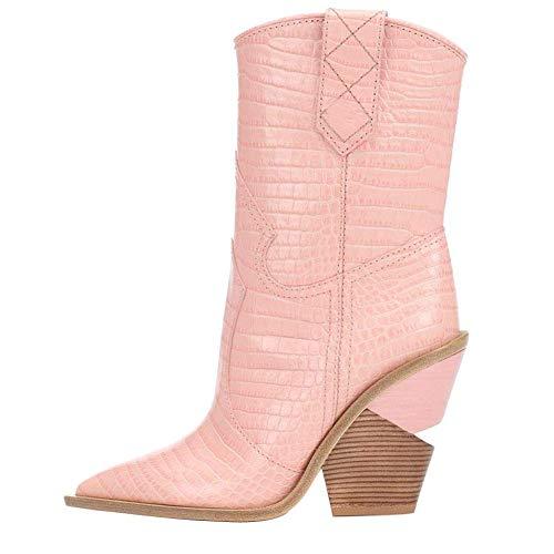 aznz Damen Pink Klassische Krokodil-Muster Blockabsatz Kurze Stiefel Spitz Cowboystiefel