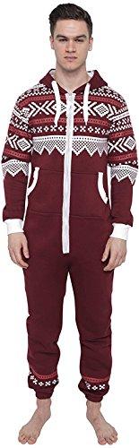 Juicy Trendz® Herren Onesie Overall Trainingsanzug Jogginganzug Einteiler Muster Jumpsuit, H-aztec-wine, M
