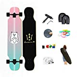 WRISCG Longboard Tabla Completa 25x107cm Skateboard, Drop-Through Freeride Skate Cruiser Boards, Rodamientos ABEC Alta velicidad, 8 Capas Flexible de Arce, por Adulto Principiante,A