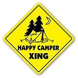 EstherMi19 Placa de metal para decoración del hogar, regalo de Xing, tienda de campaña con texto en inglés 'Happy Camper Crossing Sign 'All Good Hunky Dory'