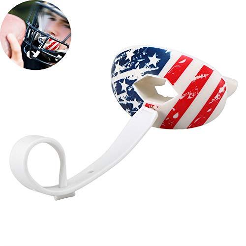 APJJ Mouth Guard Sports - Protector Bucal De Fútbol-Protector Labial para Fútbol para Jóvenes Y Adultos, Protector Labial De Protector Bucal De Fútbol con Correa Desmontable and Tirantes,Flag