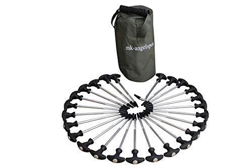 MK-Angelsport 24+1er Pack - T-Pegs Zeltheringe inkl. Tasche und T-Peg Puller für alle Campingzelte und Bivvy – 20cm lang Heringe für Angelzelte