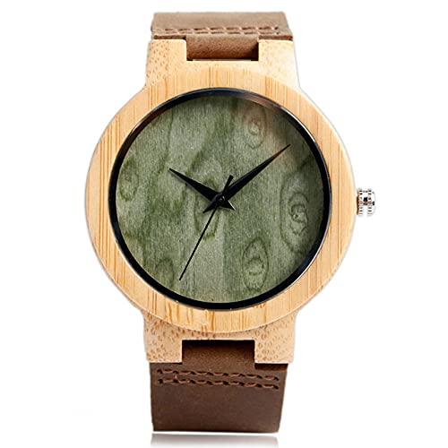 KUELXV Reloj de Pulsera de Madera Relojes de Madera Hechos a Mano Reloj de bambú de Madera Natural Reloj de Pulsera de Cuarzo Hombres Mujeres Regalos Calientes, Esfera Verde