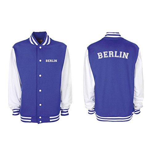 Shirt-Panda College Jacke Berlin Baseball Jacke Damen Herren XS-3XL Royal Blue/White L