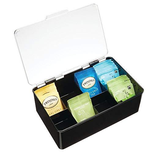 mDesign Caja para té con Cubierta – Cajas de plástico con Tapa para Guardar bolsitas de té, cápsulas y monodosis de café y más – Moderna Caja con Compartimentos para infusiones – Negro/Transpa