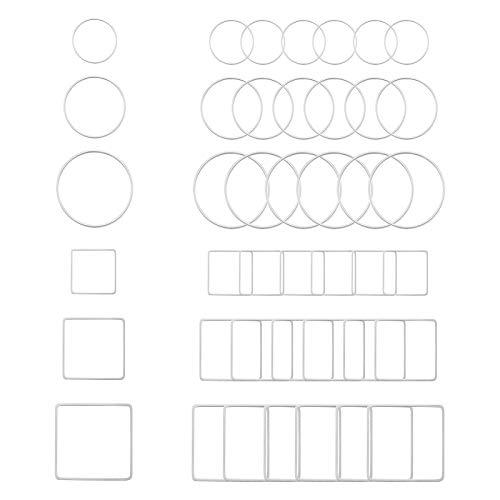 UNICRAFTALE 60個 2種形状 3種サイズ 空枠 フレームパーツ 丸カン 304ステンレス製リンクコネクタ レジンフレーム 正方形 ステンレス色 メタルフレームチャーム 金具 ネックレスイヤリングブレスレットパーツ ジュエリー作り アクセサリーパ