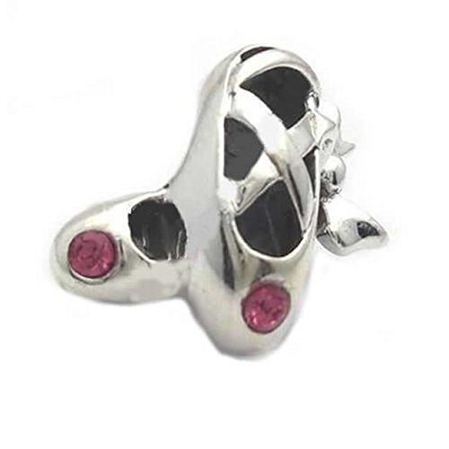 Sexy Sparkles Damen-Charm-Anhänger Ballerina-Schuhe mit farbigem Strass für Schlangenketten-Charm-Armband