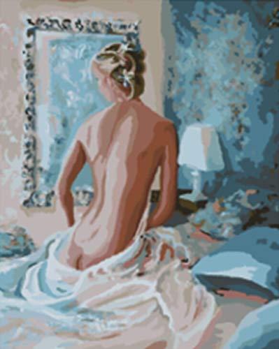 Pintar por Numeros para Pintado mano Pintura Lienzo Adultos Niños Principiante cepillos Colorido Hogar Decoraciones 40 * 50cm Sin Marco-Bella mujer en pijama