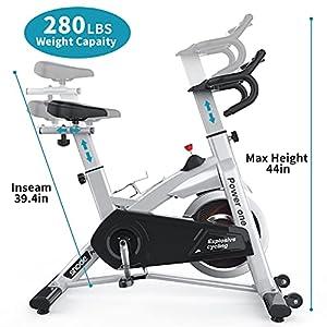 SNODEIndoorExercisebike Stationary - CyclingBikeWithTabletHolder,Seat Cushion and LCDMonitorforHome FitnessCardioWorkout