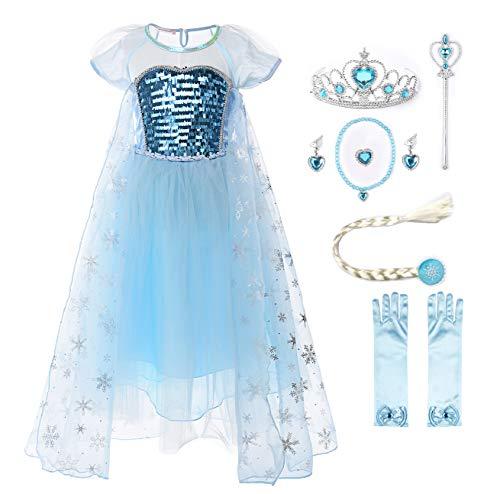 JerrisApparel Mädchen Prinzessin Kostüm Paillette Tüll Party Kleid mit Ärmel (4 Jahre, Kurz Ärmel mit Zubehör)