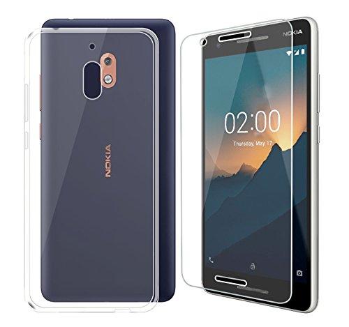 DYSu Custodia per Nokia2.1 Clear Trasparente TPU+ (Vetro Temperato Film Protection Pellicola) Silicone Morbido Coperchio Protettivo Custodia Bumper Flessibile Skin Case Cover Cassa per Nokia2.1