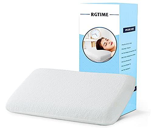 RGTIME Gel Memory Foam Pillow for Sleeping, Flat with Medium Firm Support Pillow, Slim Low Profile Comfort for Stomach, Back, Side Sleepers, 3.2 inch